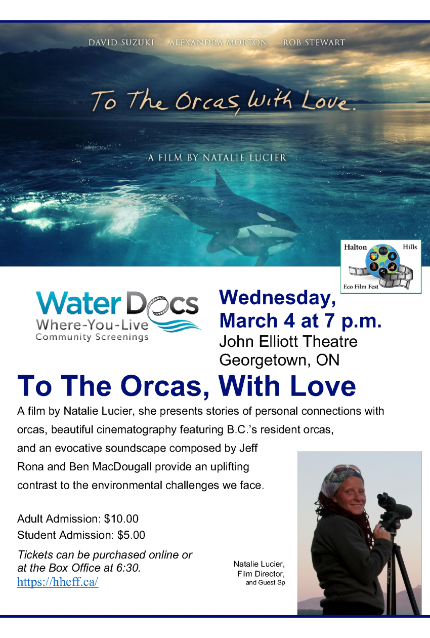 Halton Hills Eco Film Fest Showing: To The Orcas, With Love
