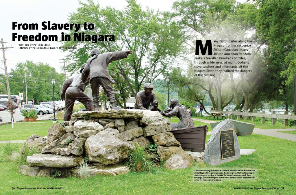 Page 36-37 of the Winter 2019-20 issue. From slavery to Freedom in Niagara